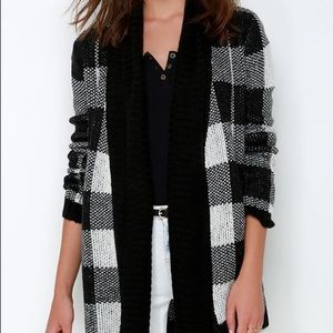 BB Dakota Jalen Black Plaid Cardigan Sweater